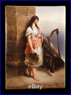 Antique 19th C Hand Painted KPM Porcelain Plaque Tambourine Girl Signed Wagner