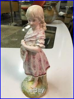 Antique 19th Cent Porcelain Figurine Girl Floral Dress Barefoot Meissen KPM era