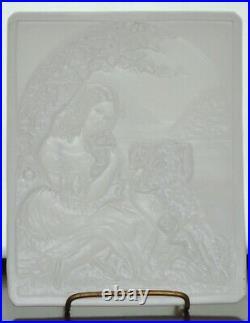 Antique 19th Century German KPM Porcelain Lithophane Panel Girl with Dogs