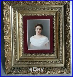 Antique 19th Century German KPM Porcelain Painting Plaque Woman
