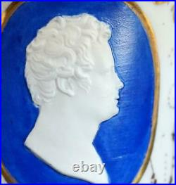 Antique 19th Century Kpm Berlin Porcelain Cup & Saucer Man Portrait Medalion