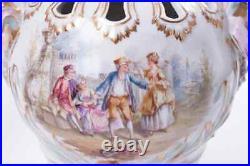 Antique 19th Original Germany KPM style Pair Porcelain Vases Marked 34 cm