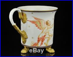 Antique 19th century KPM porcelain cup, gilt, handpainted Beethoven