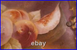 Antique 19thC English or French Porcelain Fruit Still Life Scene Plaque Scenic