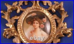 Antique 19thC Hutschenreuther Porcelain Lady Portrait Plaque Porzellan Bild