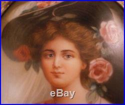 Antique 19thC Hutschenreuther Porcelain Pretty Lady Portrait Plaque Porzellan