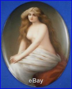 Antique 19thC Hutschenreuther Porcelain Semi Nude Lady Portrait Plaque Porzellan