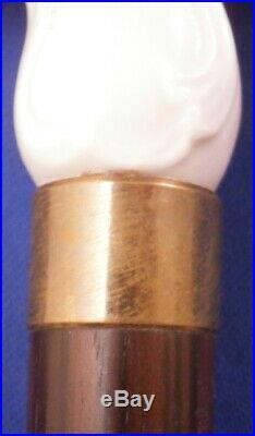 Antique 19thC KPM Berlin Porcelain Cane Handle with Cane Porzellan Stock Griff