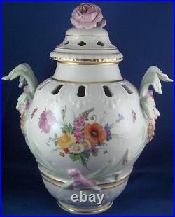 Antique 19thC KPM Berlin Porcelain Potpourri Lidded Vase Porzellan Floral Scene