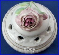 Antique 19thC KPM Berlin Porcelain Potpourri Vase Porzellan Vase Floral Scene
