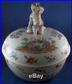 Antique 19thC KPM Berlin Porcelain Scenic Lidded Bowl Porzellan Schale Scene