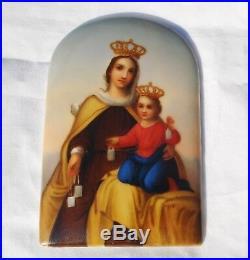 Antique-19thc-KPM-style-hand-painted-porcelain-plaque-Religious- Virgin