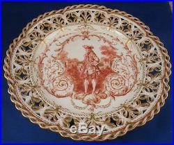 Antique 20thC KPM Berlin Porcelain Gentleman Scene Plate Porzellan Teller Scenic