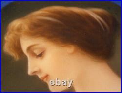 Antique Art Nouveau Hutschenreuther Porcelain Lady Portrait Plaque Porzellan