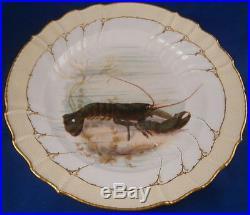 Antique Art Nouveau KPM Berlin Porcelain Lobster Scene Plate Porzellan Teller
