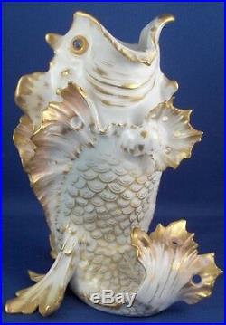 Antique Art Nouveau KPM Berlin Porcelain Weichmalerei Fish Vase Porzellan Fisch