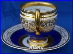 Antique Berlin KPM Continental German Porcelain Chocolate Cup and Saucer