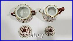 Antique Berlin KPM Porcelain Coral Pattern Tea Set, No Teapot