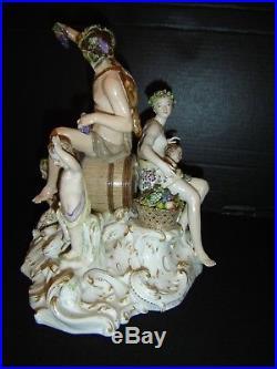 Antique Berlin KPM Porcelain Large Mythological Bacchanal Group Blue Scepter Orb