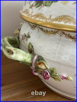 Antique Berlin Porcelain Covered Tureen with Flowers & Cherub as Finial