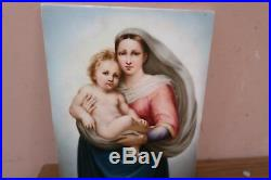 Antique Berlin Porcelain KPM 7.5 x 10 Rectangular Plaque of Madonna & Child