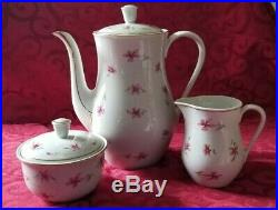 Antique Berlin Porcelain Large Coffee Set, Coffee Pot, Creamer, & Sugar Dish
