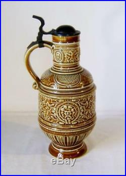 Antique Berlin Porcelain Wine Jug with Pewter Mounts in C17th Raeren Stein Style