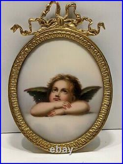 Antique Bronze Putti Cherub Angel Figure Porcelain Portrait Plaque HP Kpm Style