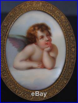 Antique BronzePutti Cherub Angel FigurePorcelain Portrait Plaque HPKPM Style