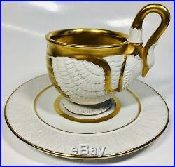 Antique Circa 1900 German Porcelain Gilded Cup and Saucer in Style of Swan