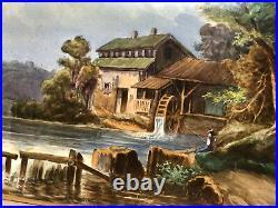 Antique Continental Hand Painted Porcelain Landscape Plaque KPM