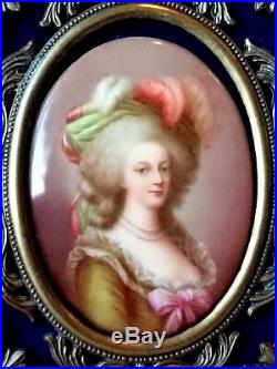 Antique Continental Royalty Sevres Kpm Porcelain Plaque Of Marie Antoinette Hand