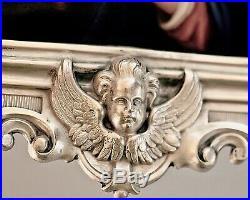 Antique DOMINIKUS KOTT 800 SILVER FRAME ANGELS PUTTI MADONNA PORCELAIN ICON KPM