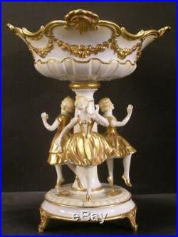 Antique Dancing Girls Volkstedt German Porcelain CenterPiece Compote Figure Kpm