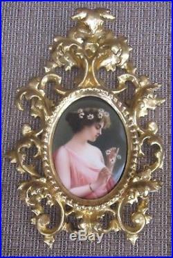 Antique Dresden KPM Germany Porcelain Portrait Plaque Painting Signed Wagner