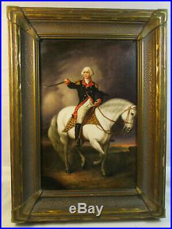 Antique Early 1800's Kpm Painted Porcelain Plaque George Washington #602
