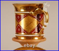 Antique Empire French porcelain Cabinet cup saucer 24K gold Directoire pre 1800