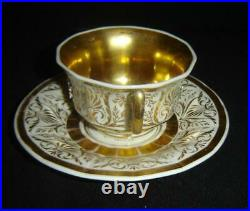 Antique Exceptional Germany KPM Porcelain Large Cup And Saucer With Gold Gilt