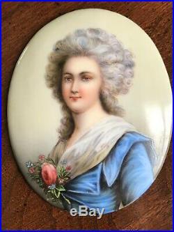 Antique Exquisite Porcelain Portrait Plaque Under Glass Gilt Metal KPM Style