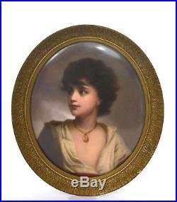 Antique Fine Hand Painted KPM Porcelain Portrait Plaque Neapolitan Boy 10x8 Mk