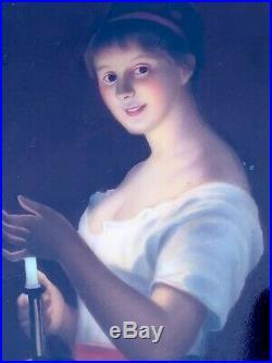 Antique Fine Hand Painted KPM style Porcelain Plaque Woman with Candle
