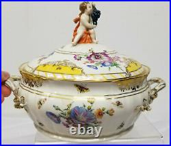 Antique Fine KPM Scepter Marked Porcelain Covered Bowl Tureen Dish Floral As Is