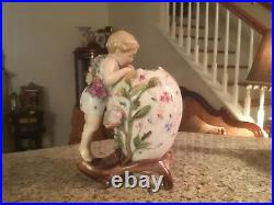 Antique Fine Vintage Kpm Berlin Porcelain Figural Spill Vase