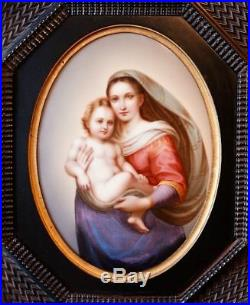 Antique Framed KPM Style Hand Painted Porcelain Plaque Virgin Mary & Baby Jesus
