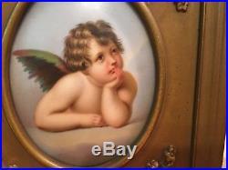 Antique Framed Porcelain Plaque Cherub Putti Angel After KPM German Buy It Now