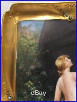 Antique German Austrian Hand Painted Porcelain Plaque KPM Grade 11 1/2 X 7 1/2