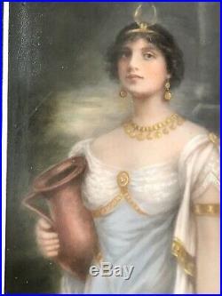 Antique German Austrian Hand Painted Porcelain Plaque Signed STICKNEY KPM