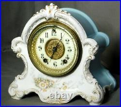 Antique German Berlin KPM Porcelain GILBERT Mantel Clock China RUNS Strike Time