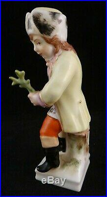 Antique German HP Porcelain Figure of a Young Man. 4 ¼ t. Marked KPM