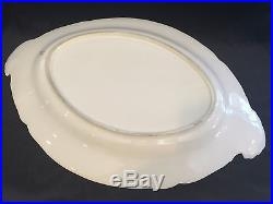 Antique German Huge KPM White Porcelain withGold & Navy Rim Oval Serving Platter